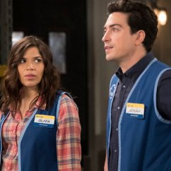 "SUPERSTORE -- ""Town Hall"" Episode 322 -- Pictured: (l-r) America Ferrera as Amy, Ben Feldman as Jonah -- (Photo by: Colleen Hayes/NBC)"